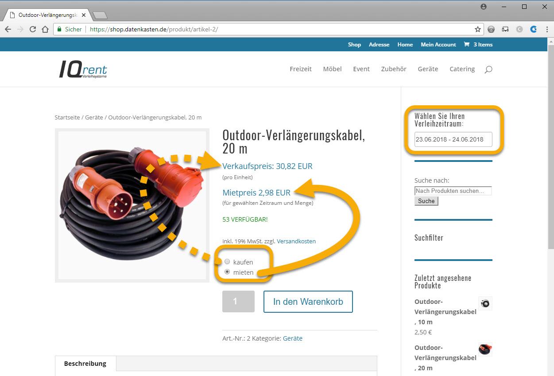 Verleihsoftware mit Möglichkeit der Onlinebuchung